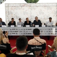 Crew of the film A STRANGER, Press Conference, Festival Square, 2013, © Obala Art Centar