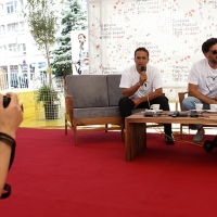 Coffee with ...  Programme, Director Danis Tanović, Actor Nazif Mujić, Festival Square, 2013, © Obala Art Centar