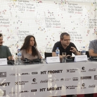Crew of the film WHEN EVENING FALLS ON BUCHAREST OR METABOLISM , Press Conference, Festival Square, 2013, © Obala Art Centar