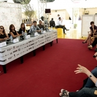 Crew of the film WITH MOM, Press Conference, Competition Programm Festure Film, Festival Square, 2013, © Obala Art Centar