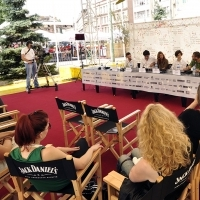 Crew of the film WOLF, Press Conference, Festival Square, 2013, © Obala Art Centar