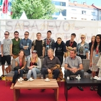 Hans Petter Moland and Miodrag Krstović with young cinephiles, IN ORDER OF DISAPPEARANCE, Coffee With... Programme, Festival Square, Sarajevo Film Festival, 2014 (C) Obala Art Centar