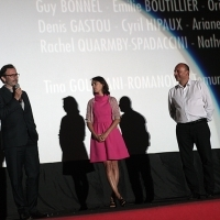 Michel Hazanavicius - Director of the film THE SEARCH, Bérénice Bejo - Actress of the film THE SEARCH with Mirsad Purivatra - Director of Sarajevo Film Festival, Screening of THE SEARCH, HT Eronet Open Air Cinema, Sarajevo Film Festival, 2014 (C) Obala Art Centar