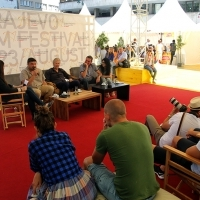 Goran Navojec, Hans Petter Moland and Miodrag Krstović, IN ORDER OF DISAPPEARANCE, Coffee With... Programme, Festival Square, Sarajevo Film Festival, 2014 (C) Obala Art Centar