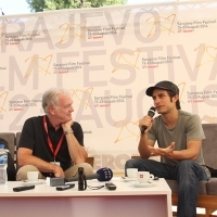 Gael García Bernal in Conversation With Geoff Andrew - Head of Film Programme at BFI Southbank, Coffee With... Programme, Festival Square, Sarajevo Film Festival, 2014 (C) Obala Art Centar