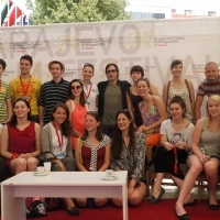 Gael García Bernal with Young Cinephiles, Coffee With... Programme, Festival Square, Sarajevo Film Festival, 2014 (C) Obala Art Centar