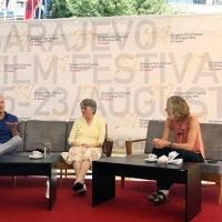 Andy Paterson - Producer of the film THE RAILWAY MAN and Patti Lomax, Coffee With... Programme, Festival Square, Sarajevo Film Festival, 2014 (C) Obala Art Centar