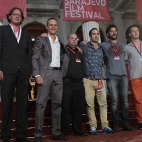 Cast and crew of the film NUMBER 55 at Red Carpet, National Theatre, Sarajevo Film Festival, 2014 (C) Obala Art Centar