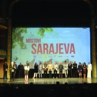 Cast and crew of the film BRIDGES OF SARAJEVO, Opening Ceremony, National Theatre, Sarajevo Film Festival, 2014 (C) Obala Art Centar