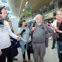 Actress Marion Bailey and Director of the film MR. TURNER Mike Leigh in Sarajevo, Airport, 20th Sarajevo Film Festival, 2014 (C) Obala Art Centar