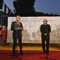 Chairman of the Board and CEO of HT Eronet Stipe Prlić, Director of SFF Mirsad Purivatra, Welcome Drink, Festival Square, 20th Sarajevo Film Festival, 2014 (C) Obala Art Centar