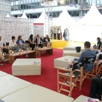 Debate on 'No Hate Speech Movement', Festival Square, Sarajevo Film Festival, 2014 (C) Obala Art Centar