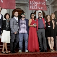Cast and crew of the film THE LAMB, Red Carpet Ceremony, National Theatre, Sarajevo Film Festival, 2014 (C) Obala Art Centar