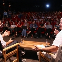 Michael Winterbottom, Public interview, Presenting of the film WELCOME TO SARAJEVO, Meeting Point Cinema, Sarajevo Film Festival, 2014 (C) Obala Art Centar