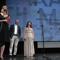 Cast and crew of the film BRIDES greets the audience after the screening, National Theatre, Sarajevo Film Festival, 2014 (C) Obala Art Centar