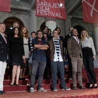 Cast and crew of the film EQUALS, Red Carpet Ceremony, National Theatre, Sarajevo Film Festival, 2014 (C) Obala Art Centar