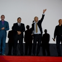 Hans Petter Moland - director of IN ORDER OF DISAPPEARANCE greeting the Audience with Miodrag Krstić and Goran Navojec - Actors of the film IN ORDER OF DISAPPEARANCE, HT Eronet Open Air Cinema, Sarajevo Film Festival, 2014 (C) Obala Art Centar