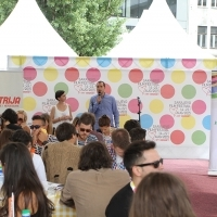 Breakfast in partnership with the Lottery of B&H, Talents Sarajevo and Lottery of B&H representatives have their speech marking the first year of partnership, Festival Square, 21. Sarajevo Film Festival, 2015 (C) Obala Art Centar