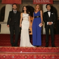 Cast of the film TREASURE with Elma Tataragić, Competition Features Programme Selector, Red Carpet, National Theatre, 21. Sarajevo Film Festival, 2015 (C) Obala Art Centar