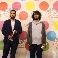 Nermin Hamzagić (DAMAGED GOODS) and Ziya Demirel (TUESDAY), SPECIAL JURY MENTION, COMPETITION PROGRAMME – SHORT FILM, National Theatre, 21. Sarajevo Film Festival, 2015 (C) Obala Art Centar