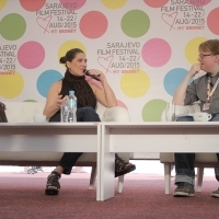 Anna Muylaert in Conversation With Michael Rosser - News Editor for Screen International and ScreenDaily.com, Coffee With... Programme, Festival Square, 21. Sarajevo Film Festival, 2015 (C) Obala Art Centar
