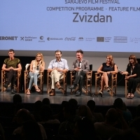 Cast and crew of the film THE HIGH SUN, National Theatre, 21. Sarajevo Film Festival, 2015 (C) Obala Art Centar