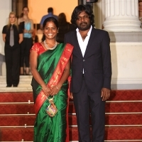 Actress Kalieaswari Srinivasan and actor Jesuthasan Antonythasan from film DHEEPAN, Red Carpet, National Theatre, 21. Sarajevo Film Festival, 2015 (C) Obala Art Centar