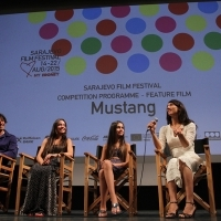 Competition Programme - Feature Film Press Conference, Director Deniz Gamze Ergüven and cast of the film MUSTANG, National Theatre Sarajevo, 21. Sarajevo Film Festival, 2015 (C) Obala Art Centar