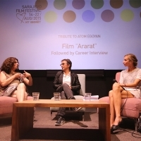 Arsinée Khanjian, Atom Egoyan and Mathilde Henrot at Career Interview, Tribute to... Programme, Cinema Meeting Point, 21. Sarajevo Film Festival, 2015 (C) Obala Art Centar