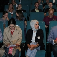 Hanna Issa, Fatma Al-Remaihi and Abdulla Al Mossallam, Delegation of Doha Film Institute, Doha Film Institute - Opening, Cinema City Multiplex, 21. Sarajevo Film Festival, 2015 (C) Obala Art Centar
