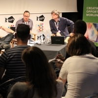 DEVELOPING STORIES FOR THE GOLDEN AGE OF EUROPEAN TV DRAMA, Open discussion with Anhony Root and Steve Matthews, moderated by Matthijs Wouter Knol, ASU Open stage, Talents Sarajevo, 21. Sarajevo Film Festival, 2015 (C) Obala Art Centar