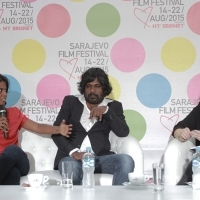Actress Kalieaswari Srinivasan and actor Jesuthasan Antonythasan from film DHEEPAN in conversation with Vanja Kaluđerčić, Short Films Programmer, Coffee With... Programme, Festival Square, 21. Sarajevo Film Festival, 2015 (C) Obala Art Centar