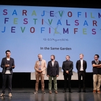 Cast and crew of the film IN THE SAME GARDEN, Preview Screening Followed by Press Conference, Competition Programme - Out of Competition, National Theatre, 22. Sarajevo Film Festival, 2016 (C) Obala Art Centar