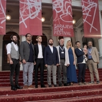 Cast and crew of the film IN THE SAME GARDEN, Competition Programme - Out of Competition, Red Carpet, National Theatre, 22. Sarajevo Film Festival, 2016 (C) Obala Art Centar