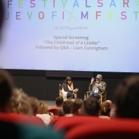 Q&A with Liam Cunningham, THE CHILDHOOD OF A LEADER, moderated by Cat Willers, Katrin Cartlidge Foundation, Talents Sarajevo, Meeting Point Cinema, 22. Sarajevo Film Festival, 2016 (C) Obala Art Centar