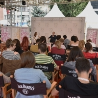 Coffee with... Hans Petter Moland, A CONSPIRACY OF FAITH, moderated by Mathilde Henrot, Open Air Programme, Festival Square, 22. Sarajevo Film Festival, 2016 (C) Obala Art Centar
