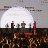 Stephen Frears, recipient of the Honorary Heart of Sarajevo, Open Air Programme, Open Air Cinema, National Theatre, 22. Sarajevo Film Festival, 2016 (C) Obala Art Centar