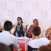 Coffee with... Mirjana karanović, actor Boris Isaković and actress Jasna Đurčić, moderated by Jasmila Žbanić, A GOOD WIFE, Open Air Programme, Coffee with..., Festival Square, 22nd Sarajevo Film Festival, 2016 (C) Obala Art Centar