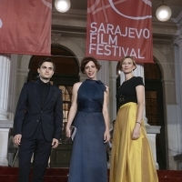 Lucian Teodor Rus and Ilinca Harnut, SCARRED HEARTS, with Elma Tataragić Programmer of the Competition Program – Feature Film, Competition Program – Feature Film, Red Carpet, National Theatre, 22. Sarajevo Film Festival, 2016 (C) Obala Art Centar