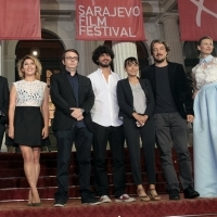 Actor Murat Kilic, actress Sebnem Bozoklu, director Mehmet Can Mertoglu, producer Yoel Meranda, art director Yunus Emre Yurtseven and art director Meral Efe Yurtseven, ALBUM, with Elma Tataragić Programmer of the Competition Program – Feature Film, Competition Program – Feature Film, Red Carpet, National Theatre, 22. Sarajevo Film Festival, 2016 (C) Obala Art Centar