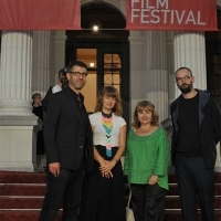 Fernand Melgar (member of Competition Programe - Documentary Film Jury), Tine Fischer (member of Competition Programe - Documentary Film Jury), Rada Šešić (Competition Programe - Documentary Film Programmer) and Alexander Nanau (member of Competition Programe - Documentary Film Jury), Tine Fischer (member of Competition Programe - Documentary Film Jury), Red Carpet, National Theatre, 22. Sarajevo Film Festival, 2016 (C) Obala Art Centar
