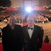 Mirsad Purivatra (Sarajevo Film Festival director) and actor Dave Johns, I, DANIEL BLAKE, Open Air Programme, Open Air Cinema, 22. Sarajevo Film Festival, 2016 (C) Obala Art Centar
