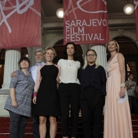 Producer Rossitsa Valkanova, actor Alexandr Triffonov, co-producer Katrin Pors, director Ralitza Petrova, actress Irena Ivanova, GODLESS, with with Elma Tataragić Programmer of the Competition Program – Feature Film, Competition Program – Feature Film, Red Carpet, National Theatre, 22. Sarajevo Film Festival, 2016 (C) Obala Art Centar