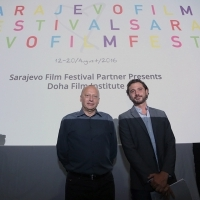 Mirsad Purivatra (Director of the Sarajevo Film Festival) with Ali Khechen (Film Workshops & Labs / Qumra Industry Manager) at SFF Partner Presents: Doha Film Institute Opening, Multiplex Cinema City, 22. Sarajevo Film Festival, 2016 (C) Obala Art Centar