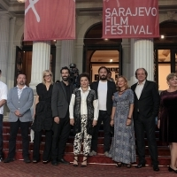 Co-producers Damir Ibrahimović, Igor Vranjković, Jasmila Žbanić, actor Ermin Bravo, director and actress Mirjana Karanović, director of photography Erol Zubčević, actress Jasna Đuričić, actor Boris Isaković and actress Zinaida Dedakin, A GOOD WIFE, Open Air Programme, Red Carpet, National Theatre, 22. Sarajevo Film Festival, 2016 (C) Obala Art Centar