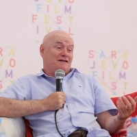 Coffee with... Dave Johns, I, DANIEL BLAKE, moderated by Andy Peterson, Open Air Programme, Festival Square, 22. Sarajevo Film Festival, 2016 (C) Obala Art Centar