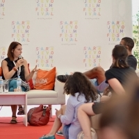 Conversation with Klara Trencsenyi, director of TRAIN TO ADULTHOOD, Competition Programme - Documentaries, Docu Corner, Festival Square, 22. Sarajevo Film Festival, 2016 (C) Obala Art Centar