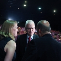 Ivo Josipović (former President of the Republic of Croatia) with Verena Heinzel (Program Officer at the Robert Bosch Stifftung) and Mirsad Purivatra (Director of the Sarajevo Film Festival), OPENING OF DEALING WITH THE PAST PROGRAMME, Multiplex Cinema City, 22. Sarajevo Film Festival, 2016 (C) Obala Art Centar