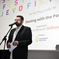Robert Tomić Zuber, host at the opening of DEALING WITH THE PAST programme, Multiplex Cinema City, 22. Sarajevo Film Festival, 2016 (C) Obala Art Centar