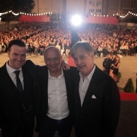 Tom Bennett, Mirsad Purivatra and Whit Stillman, LOVE & FRIENDSHIP, Open Air, Open Air Cinema, 22nd Sarajevo Film Festival, 2016 (C) Obala Art Centar